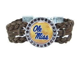 Ole Miss Rebels Braided Brown Leather Crystal Bracelet Jewelry Blue UM Gift - $9.89