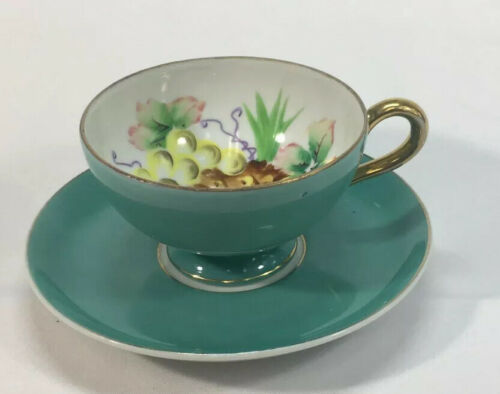 Primary image for UCAGCO Tea Cup & Saucer Light Blue Fruit Design Hand Painted in Japan AL001