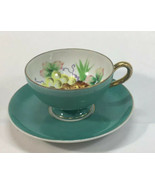 UCAGCO Tea Cup & Saucer Light Blue Fruit Design Hand Painted in Japan AL001 - $25.15