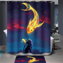 Animal Fish 57 Shower Curtain Waterproof Polyester Fabric & Bath Mat Bathroom - $15.30+
