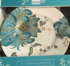 222 Fifth Porcelain Eliza Floral Teal (4) Salad / Dessert Plates  NEW - $39.59