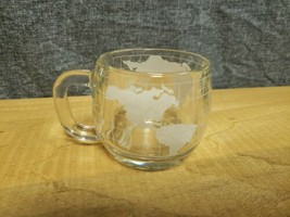 Vintage 1970's Nestle Nescafe Clear Glass Globe World Cup Mug Coffee Tea - $5.69
