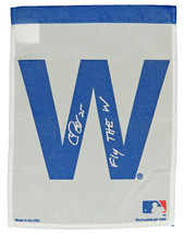 CHRIS BOSIO Signed Chicago CUBS 11x15 White 'W' Flag w/Fly The W - SCHWARTZ - $34.65