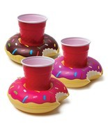 3 Pcs Inflatable Pool Party Drink Floats Donuts Swimming Pool Beverage H... - $6.99