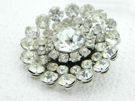 CORO Clear Rhinestone Silver Tone Flower Large Brooch Vintage image 3