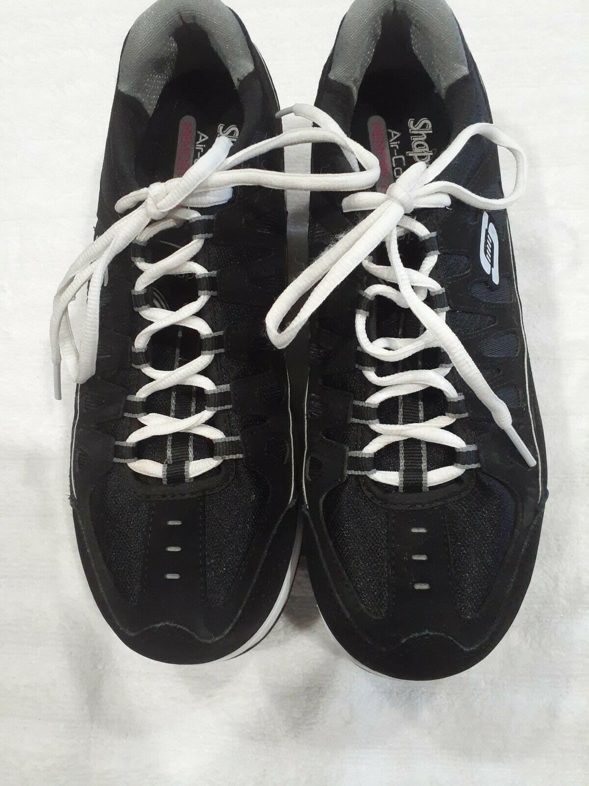 Womens Sz 9.5 M Skechers Shape-Ups Comfort Stride Shoes Sneakers Black & Silver image 9