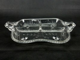 Vintage Relish Tray, 3 Compartments, 4-footed, Flowers & Leaves, Cambrid... - $19.55