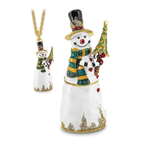 Bejeweled Crystal Enameled Friendly Snowman with Tree Trinket Box