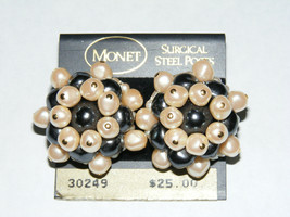 Vintage Unused Signed MONET Gold Tone Faux Pearl CLUSTER Post Earrings w... - $12.50