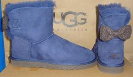 Ugg Australia Mini Bailey Knit Bow Navy Suede Sheepskin Boots Size 5 Nib 1007980 - $117.76