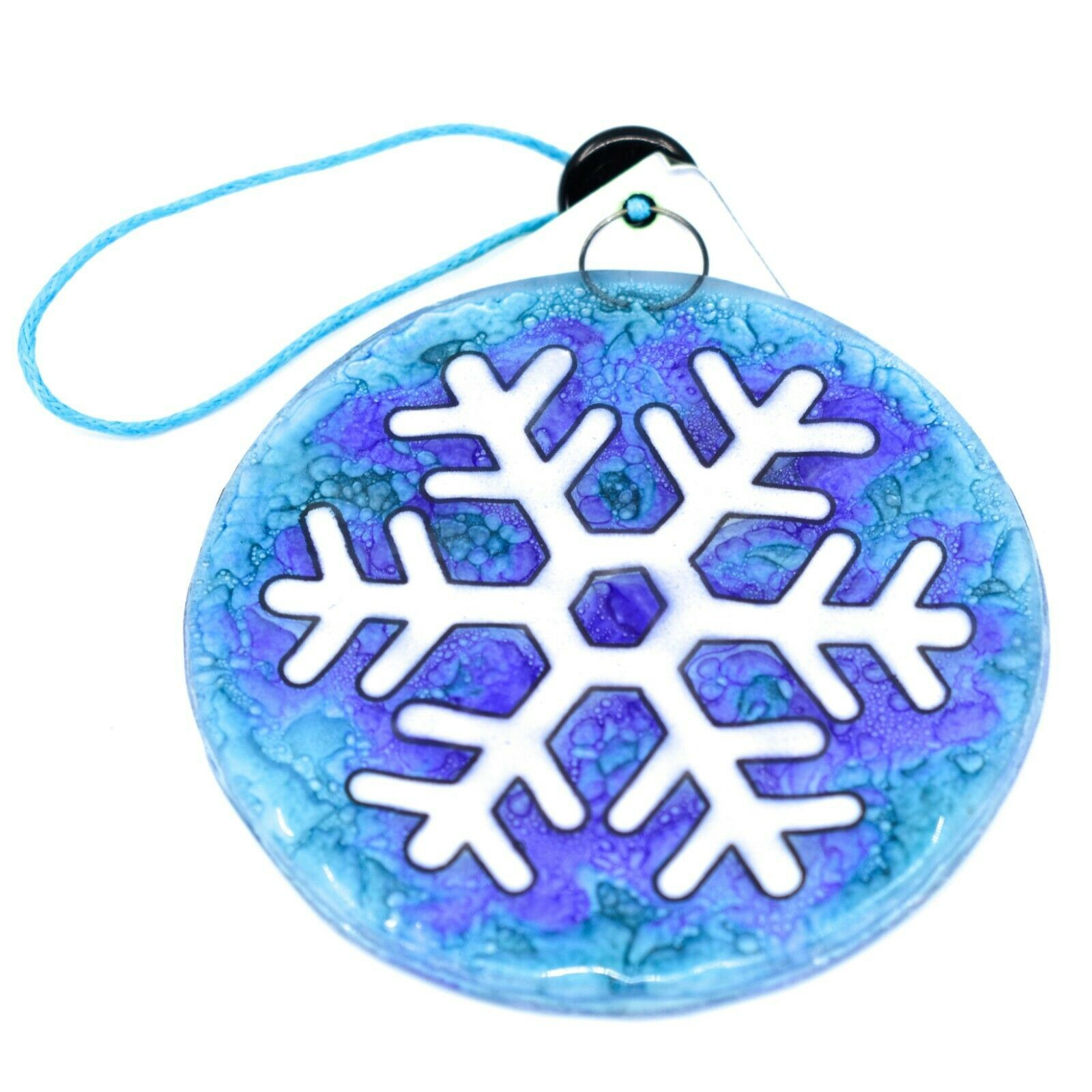 Fused Art Glass Winter Snowflake Ornament Handmade in Ecuador