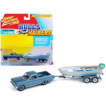 1965 Ford Ranchero Silver Blue with Vintage Fishing Boat Limited Edition... - $26.64