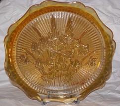 Vtg Jeannette Glass Iris Herringbone Iridescent Marigold Carnival Glass - $19.79