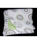 Little Miracles Baby Blanket Sherpa Blue Green Brown White Circles Polka... - $14.77