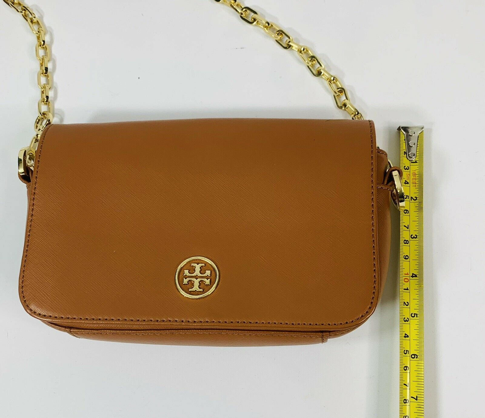 Tory Burch Robinson Chain Strap Tiger's Eye Brown Leather Crossbody Bag image 5