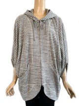 St. John Yellow Gold Label Gray & Ivory Striped Double Zip Hooded Jacket L - $165.00