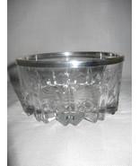 "Genuine Crystal Deep Cut Glass Sauce Fruit Bowl Silver Rim 5"" By Leonard... - $12.95"