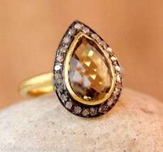 Victorian 0.56ct Rose Cut Diamond Golden Topaz Christmas Ladies Wedding ... - $362.78