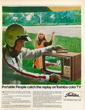1968 Toshiba Color Television Print Ad Race Car Driver Watches Spin Out ... - $10.89