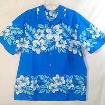 VTG Kalena Fashions Poly Blue Hawaiian Aloha Shirt Sz XLarge Made in Haw... - $19.79