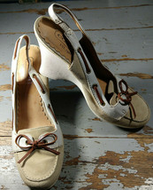 """Coach ATHENA Leather & Suede 3.5"""" Slingback Wedge Boat Shoe Style Size 7.5M - $24.50"""