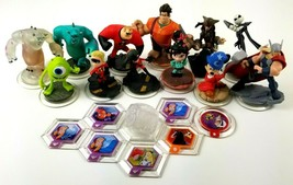 DISNEY INFINITY Lot of 12 Figures Crystal & Power Discs Monsters Incredibles - $28.53
