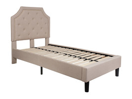 Offex Tufted Upholstered Platform Bed in Beige Fabric - Twin Size - $320.99