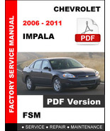 CHEVROLET 2006 - 2011 IMPALA SERVICE REPAIR WORKSHOP MAINTENANCE FACTORY MANUAL - $14.95