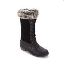 Sporto® Natasha; Waterproof Suede and Leather Duck Boot, Black 6 M - $29.70