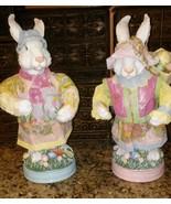 """Vintage 1980s 14"""" Plastic Mr. Mrs Rabbit Statues White Bunnies w Paper C... - $17.82"""