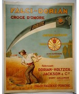 FALCI-DORIAN CROCE D'ONORE Italian Farm Implement Advertising Poster, vi... - $42.75