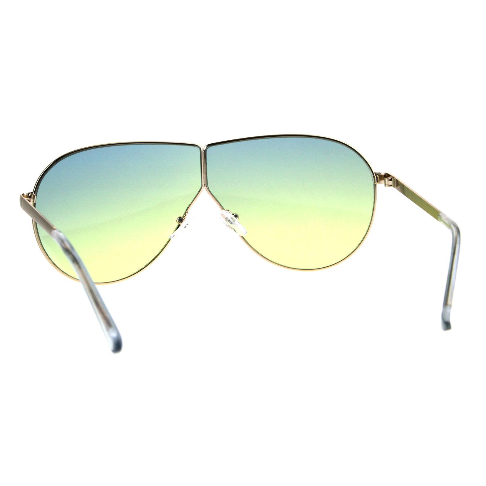 a3d0824d25 Oversize Gradient Oceanic Hippie Lens Metal Rim Shield Pilots Sunglasses