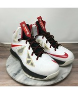 Nike Lebron Elite X 10 White University Red Lace Up Basketball Shoes You... - $49.95