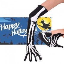 Halloween Skull Skeleton Print Gloves Halloween Costumes Long Arm Warm G... - $14.02 CAD