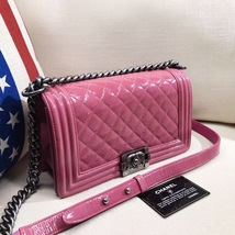 AUTHENTIC CHANEL PINK QUILTED GLAZED CALFSKIN MEDIUM BOY FLAP BAG RHW image 12