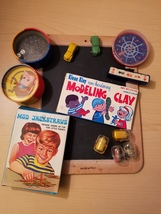 Toy LOT 40s-70s Chalk Board Clay Jack Straws Puzzles Dice Gum Machine T... - $29.99