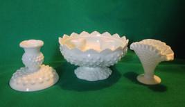 Fenton milk glass hobnail lot centerpiece candle bowl, vase, and single ... - $17.81