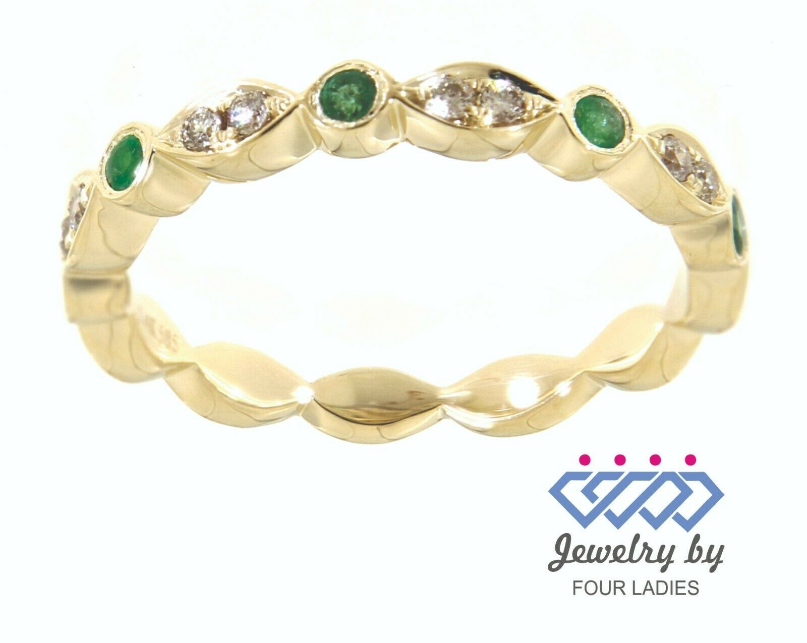 Primary image for Emerald Round Gemstone 14K Yellow Gold 0.12CT Natural Diamond Full Eternity Band