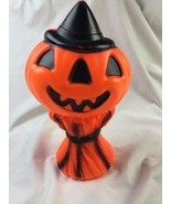Vintage 1969 Empire Blow Mold PUMPKIN JACK O LANTERN In WITCH HAT on HAY... - $28.04