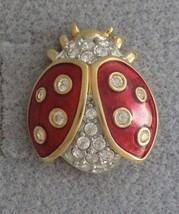 Colorful Sparkling LADYBUG Pin Red Enamel Gold Tone Swarovski Swan Mark ... - $29.99