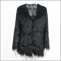 Long Shaggy Hair Black Angora Sheep Faux Fur Medium Length Coat Jacket image 4