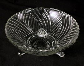 Anchor Hocking AHC60 Clear Glass Serving Bowl 8.5 Inches Diameter 3 Footed - $6.79