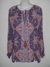 Lucky Brand Womens Boho Print Peasant Blouse Shirt Rayon MEDIUM M Henley - $27.86