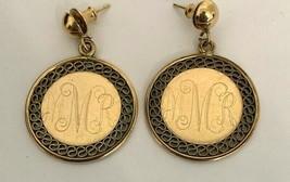 """Vintage Goldtone Thick Oval Hoop Earrings Retro Look 1 1/4"""" Drop Pierced... - $8.06"""