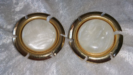 Signed Sarah Coventry clip on earrings gold tone faux shell plastic vintage - $15.00