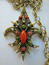 "VTG ART Fluer De Lis Pendant Necklace Enamel Flower Filigree Open Work 30"" Chain image 3"