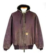 Vtg 80s Carhartt Brown Canvas Work Jacket Hood Quilt Lined Construction ... - $29.69
