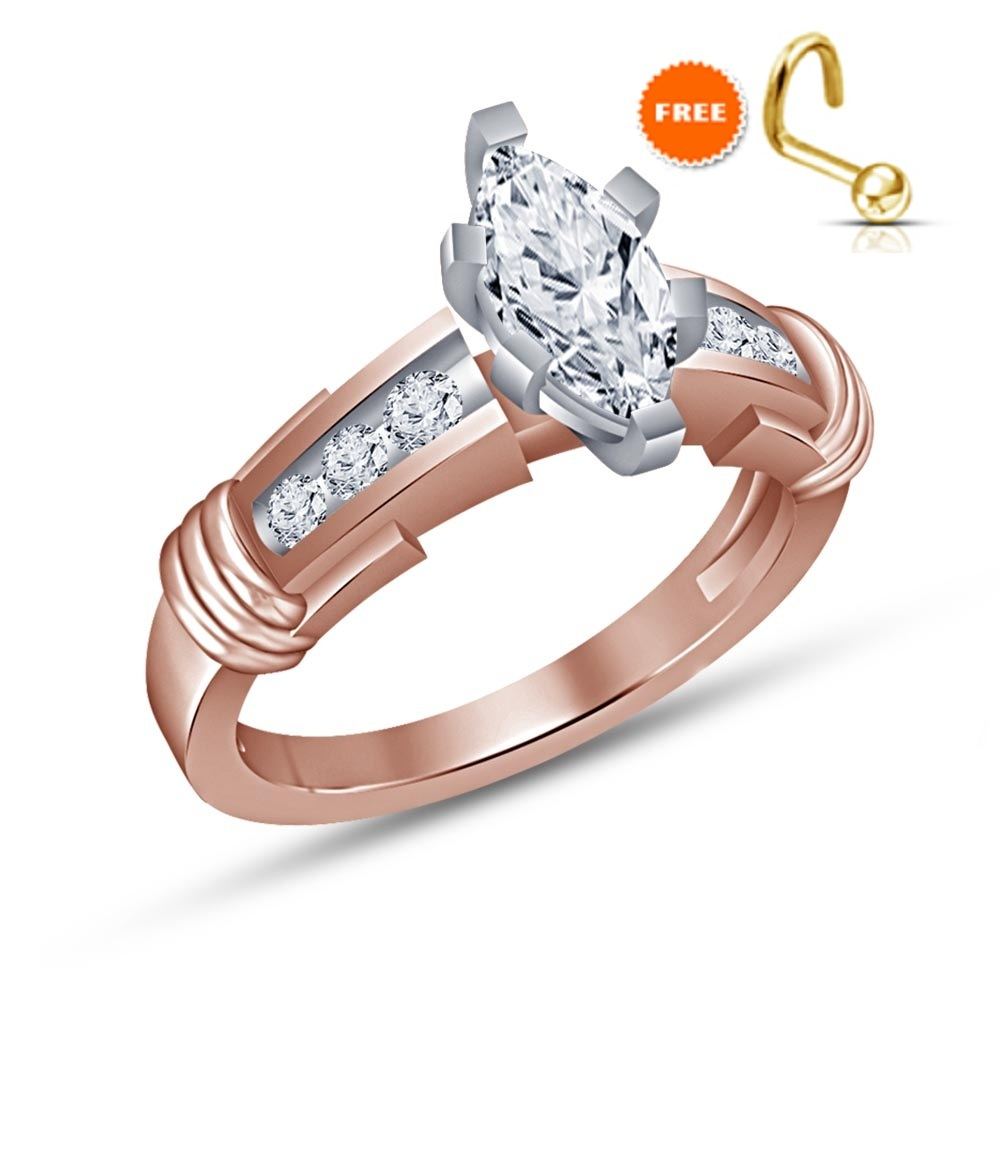 14k Solid Rose Gold Finish 1.25 CT Marquise Cut White Diamond Engagement Ring