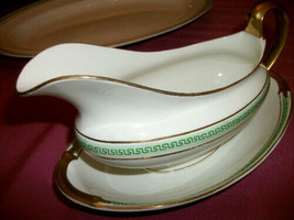 Vintage Johnson Bros England   Gravy Boat w underplate green Greek key  - $23.76