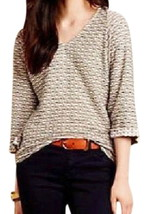 Anthropologie Zigzag Stretch Tee XSmall 0 2 Neutral COMFY Fitted Kimono Dolman - $32.20